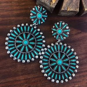 Silver & Turquoise Cluster Earrings